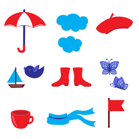 Cartoon umbrella, cloud, butterfly, bird, red flag, tea cup, scarf, wellingtons, ship illustration isolated on white backdrop, decorative vector elements for design card, scrapbook sticker, education Illustration