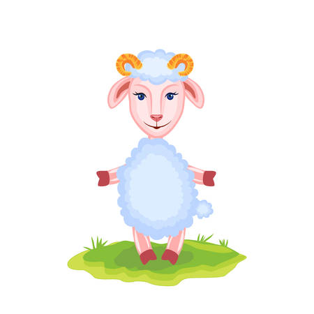 Cartoon funny lamb, kid cartoon animal, domestic cute ship on green grass isolated on white background, Character design for greeting card, children invitations, creation of zoo alphabet, baby shower