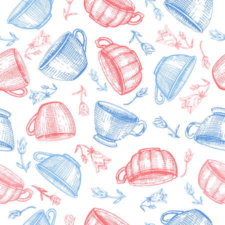 Tea cups bell flower vector sketch hand drawn isolated on white, Seamless vector pattern for card, package cosmetic, tea, coffee, magazines, web sites, restaurant menu, page, wallpapper, textiles