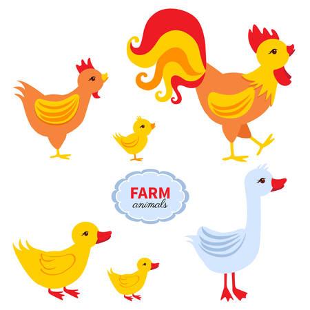 漫画かわいい農家の動物、鶏、ひよこ、鶏、ダック、グース ホワイト バック グラウンド、国内面白い鳥セット、グリーティング カード、子どもた  イラスト・ベクター素材