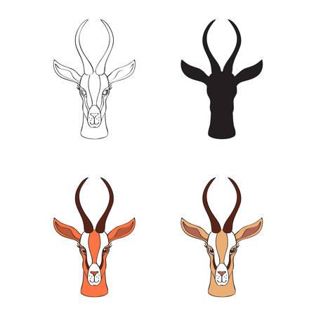 Decoratieve Gazelle grafische hand getekende vector cartoon doodle dierlijke illustratie, Afrikaanse safari antilope met gebogen hoornen geïsoleerd op wit, Karakter ontwerp voor wenskaart, logo icoon, baby douche.