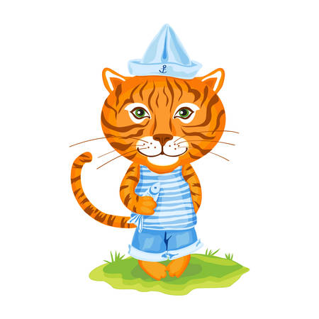 Tiger sailor in cap of boat and fish on green grass isolated on white background, Vector cartoon cute illustration, Character design for greeting card, children invitation, element pattern wallpaper
