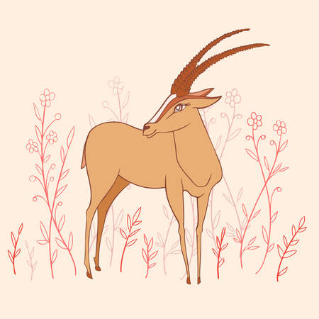 Decorative Gazelle colorful hand drawn vector cartoon wild animal doodle illustration, standing African safari antelope with curved horns isolated on light background among flowers, for design card Illustration