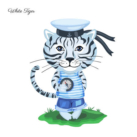 White Tiger sailor in cap with compass on green grass isolated on white background.