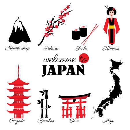 Japan landmark, symbols set sushi, Mountain Fuji, branch sakura flower, kimono, japanese pagoda, bamboo, torii, cartoon map vector illustration travel icons, decorative sign for design advertising