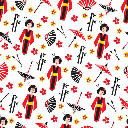 Japan Seamless Pattern Japanese Vector Symbols With Traditional