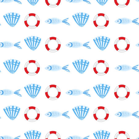 Marine seamless vector pattern cartoon lifeline, swimming fish, seashell illustration isolated on white background, summer texture, design wallpaper, sea backdrop, textile, wrapping paper