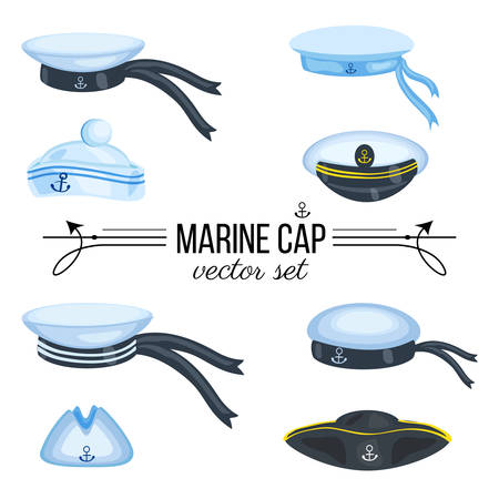 cocked hat: Marine caps, sailor hat, peaked cap with cockade, nautical badge with anchor, panama with bell, cocked hat isolated on white background, cartoon vector illustration cloth design, sea symbol