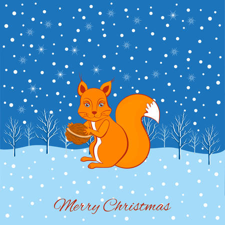 Christmas cute cartoon squirrel with walnut in paws sitting in winter forest and falling snowflakes on snow background, Template Christmas and New Year greeting card, decorative poster, baby shower