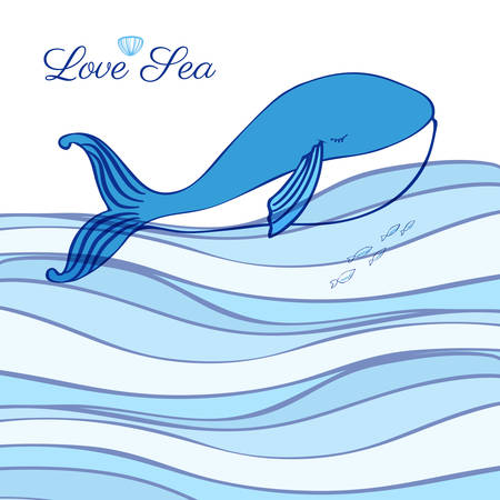 cachalot: Blue Whale cartoon illustration isolated on decorative wave background, vector graphic colorful doodle animal, Character design for greeting card, children invitation, baby shower, travel postcard