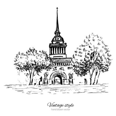 Admiralty spire of Saint Petersburg landmark, Russia, hand drawn engraving vector illustration isolated on white, vintage style ink sketch building for touristic postcard, poster, calendar template