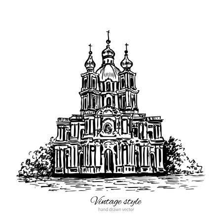 in monastery: Smolny Cathedral of Saint Petersburg landmark, Russia, hand drawn engraving vector illustration isolated on white, vintage style ink sketch building for touristic postcard, poster, calendar template