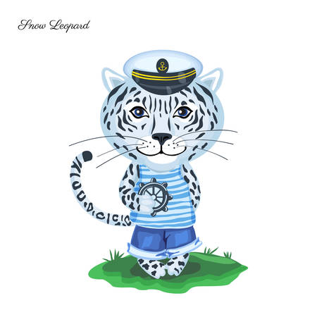 Snow leopard sailor in captain cap with steering wheel on green grass isolated on white background, Vector cartoon illustration, Character design for greeting card, children invite, element pattern