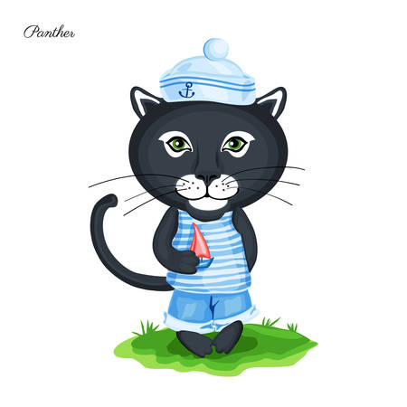 Black Panther sailor in cap with sailboat on green grass isolated on white background, Vector cartoon cute illustration, Character design for greeting card, children invitation, element wallpaper Illustration