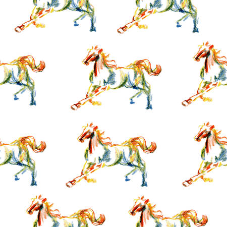 Horse hand drawn illustration painted coloring pencil isolated on white, seamless vector pattern, decorative background, designed texture, ornament for greeting card, package, wallpaper, scrapbook