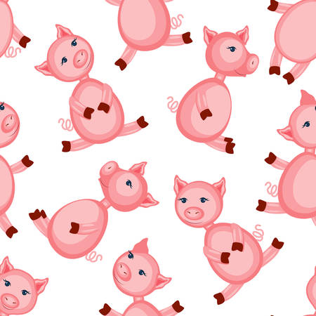 Cartoon cute pink pig isolated on white background, seamless pattern, colorful vector illustration farmer domestic animal, Character design for greeting card, children invitation, creation of alphabet 向量圖像