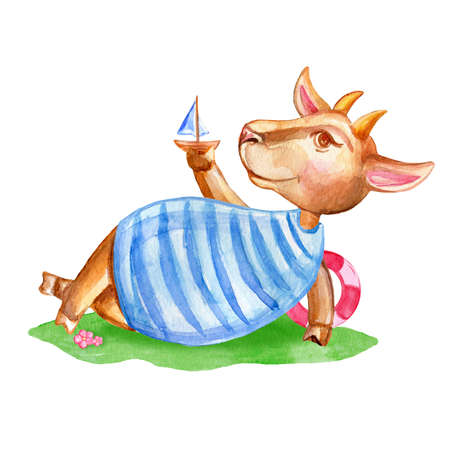 sea goat: Watercolor cute cartoon goat in shirt hand drawn kid domestic animal on the grass isolated on white background, farmer mammal, for design greeting card, creation of alphabet, children invitation Stock Photo