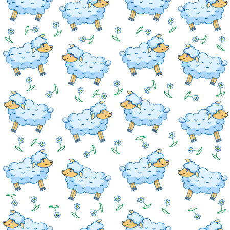 Cute little lamb cartoon sheep, wild flower isolated on white, vector seamless pattern, decorative background, colorful Illustration, Character design for baby shower, greeting card, children invite