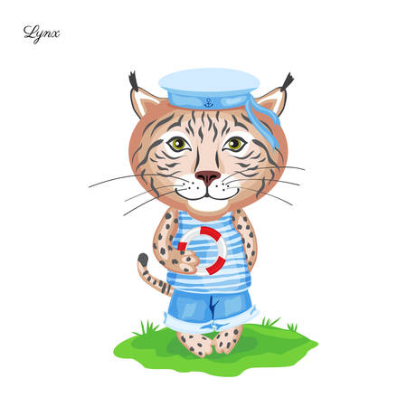 Lynx sailor in cap with lifeline on green grass isolated on white background, Vector cartoon cute illustration, Character design for greeting card, children invite, element pattern, baby shower