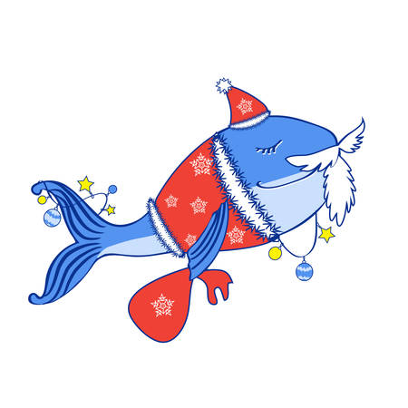 Blue whale in costume of Santa Claus. Illustration