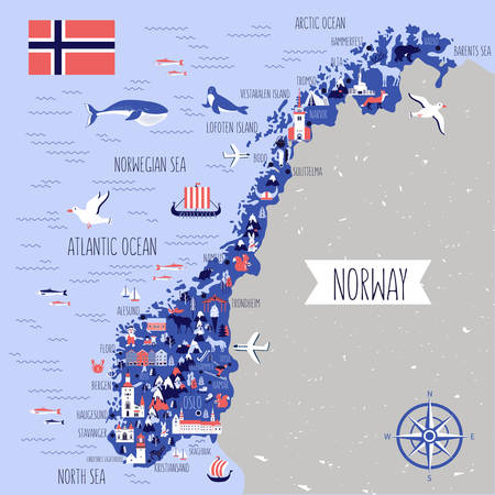 Norway travel cartoon vector map Illustration