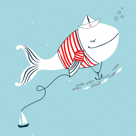 White whale in shirt stripes with paper boat, anchor cartoon illustration.