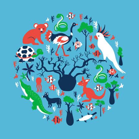 Australian wild animals, colorful trees, vector cartoon illustration, round frame, travel background with mammal koala, kakadu, snake, kangaroo, crocodile, fish, decorative texture for design zoo Illustration