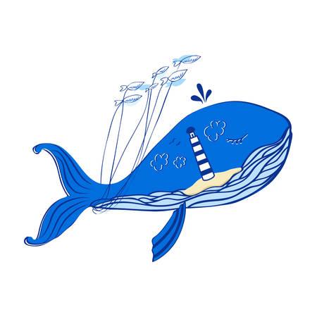 Blue whale cartoon with lighthouse taking fish decorative illustration isolated on white.