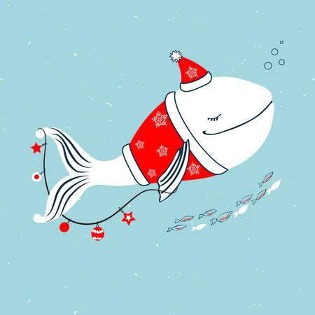 Baleine en costume du père Noël avec guirlande, animal de dessin animé de décoration de Noël isolé sur fond bleu, illustration colorée de vecteur, conception de caractères pour carte de voeux, invitation d'enfants