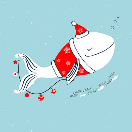 Whale in costume of Santa Claus with garland, Christmas decoration cartoon animal isolated on blue background, vector colorful illustration, Character design for greeting card, children invitation