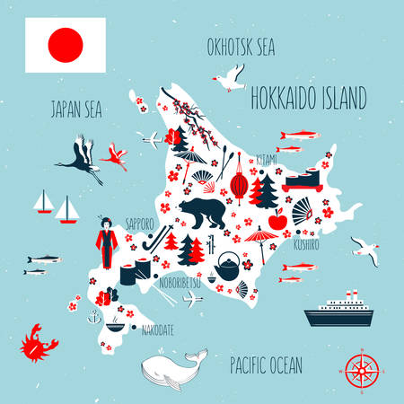 Japan cartoon travel map vector illustration, Hokkaido island, japanese symbols blossom sakura, cranes, decorative umbrella, kimono, traditional food sushi, bamboo, flag for design tourism advertising
