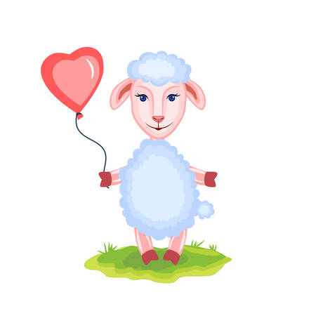 Cartoon lamb kid cartoon vector animal domestic cute ship on green grass with pink balloon isolated on white.