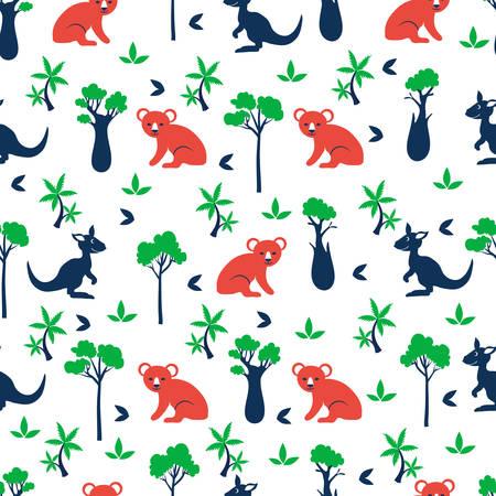 Seamless vector cartoon pattern, australian wild animals koala bear, kangaroo, cypress, bottle tree, palm, exotic background, decorative colorful texture for design wallpaper, cute textile, fabric