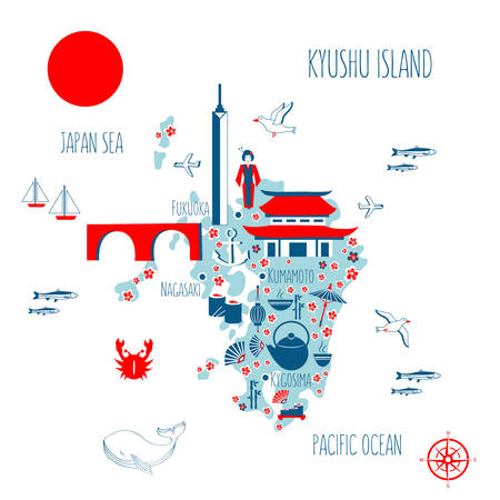 Japan cartoon travel map Kyushu island vector illustration, landmark Fukuoka tower, Confucius temple.