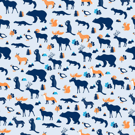 Seamless pattern, Kamchatka cartoon travel vector illustration, colorful symbol isolated on light blue backdrop, decorative texture wild animals, volcanoes, mountains for design wallpaper, textile Illustration