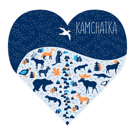 Kamchatka peninsula illustration Illustration