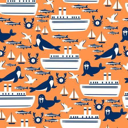 Seamless marine pattern, wild sea animals, cartoon travel vector illustration ship, sailboat, swalrus, fur seal, seagull colorful isolated on orange backdrop, decorative texture for design wallpaper