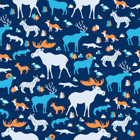 Seamless wild animal pattern, cartoon vector illustration, colorful fox, ram, sable, elk, lynx, deer isolated on blue backdrop, decorative texture, for design wallpaper, textile, greeting card, invite