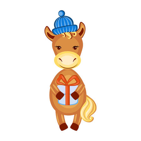Lover horse with gift, vector kid cartoon farmer animal, domestic cute foal in cap isolated on white, Character design for greeting card, children invitation, creation of alphabet, valentines days