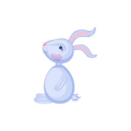 Cartoon cute rabbit sitting isolated vector illustration Illustration