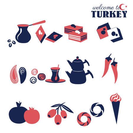Turkish traditional vector food - sweets, coffee, tea, baklava, bread simit, pepper pepperoni, mussel, ice cream dondurma.