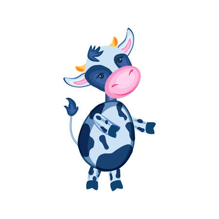 Cartoon calf vector hand drawn. Character design for greeting card, children invite, packaging product, creation of alphabet.  イラスト・ベクター素材