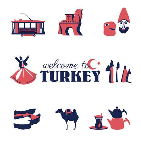 Turkey illustration, turkish symbol set, Trojan horse, mount Nemrut, tram, dervish, Cappadocia, Pammukale, teapot, camel, glass Tulip cartoon vector travel icon, decorative sign for design advertising Stock Photo