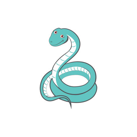 Cute cartoon snake, kid wild animal vector funny colorful exotic mammal illustration, viper isolated on white background, Education for children, character design, mascot zoo alphabet, baby shower Illustration
