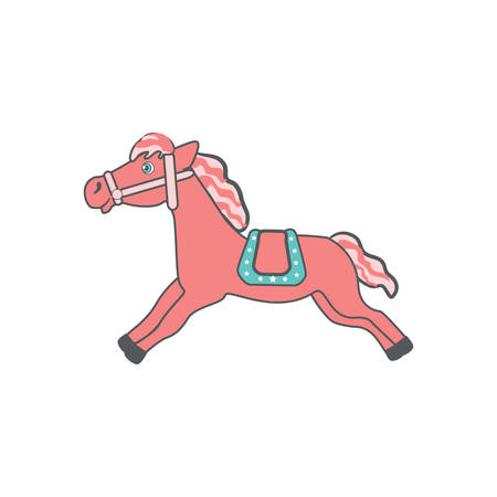 Cute cartoon pink horse with saddle running, domestic farm animal vector colorful illustration isolated on white background, decorative mammal for character design, mascot, zoo alphabet, invitation
