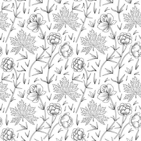 Seamless herbal pattern Trollius asiaticus flowers, Kupavka,globeflower hand drawn vector sketch isolated on white background, Ranunculus for design package, medicine, wedding, greeting card, cosmetic Standard-Bild - 101177868