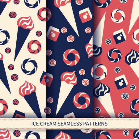 Seamless vector pattern sweets ice cream, bagel, baklava, dondurma, candy cartoon illustration isolated on colorful background, turkish delight, food ingredient for cooking, restaurant menu, wallpaper Stock Photo