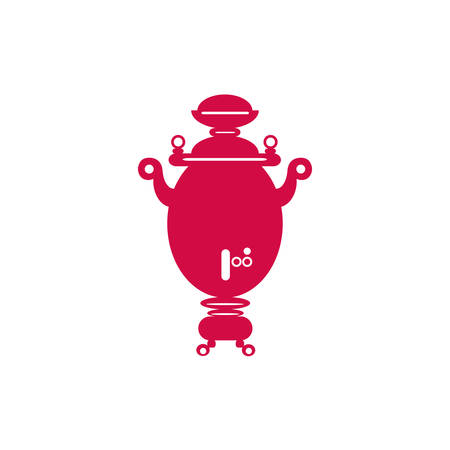 Russian symbol red samovar vector illustration isolated on white backdrop, welcome to Russia tea time ultra-trendy sign travel flat icon, national culture drink, Old-fashioned device for boiling water