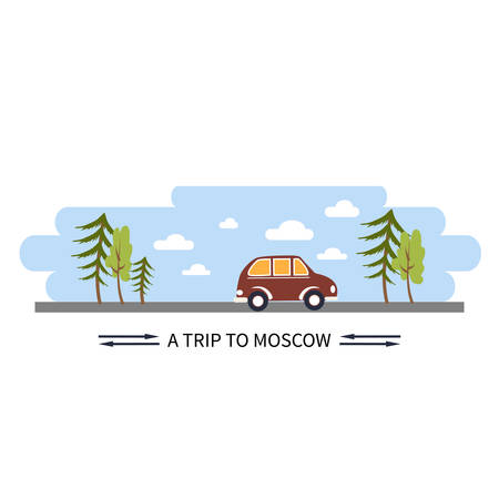 Cartoon landscape, Decorative travel road with car and tree on blue sky vector flat illustration isolated on white background, tourism vacation concept, summer cartoon banner for design advertising