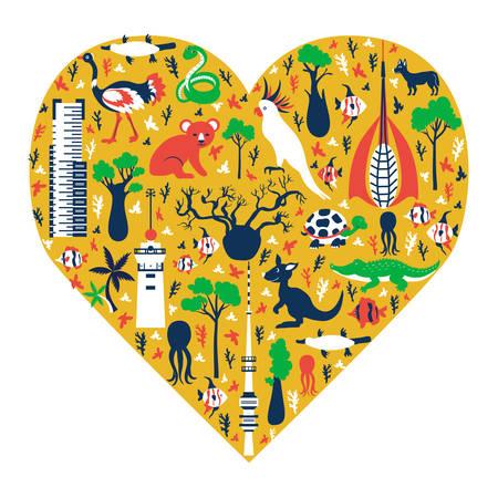 Australian symbols in heart shape, vector cartoon Australia landmark Telstra Tower, Perth bell tower, Old Windmill Brisbane, Eureka skyscraper, australian wild animals, travel background for design